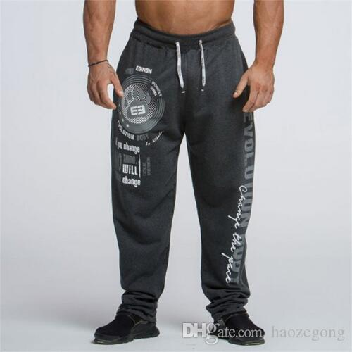 4ed41f214b9cd 2019 2019 Casual Running Pants Men Letter Bodybuilding Joggers Sweatpants  Harem Long Trousers Gym Fitness Sport Training Pants From Haozegong, ...