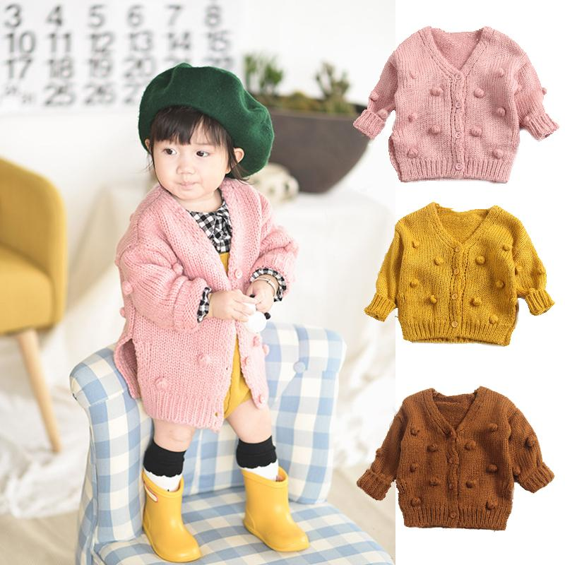 a3d8944082ae Girls Autumn Winter Cotton Sweater Jacket Baby Knitted Hand Made ...