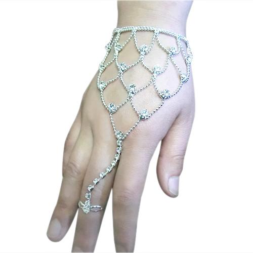 Fashion 2017 Silver Women's Bridal Wedding Crystal Jewelry Hand Harness Bracelet Finger Cuff Bracelets & bangles 4T8Q