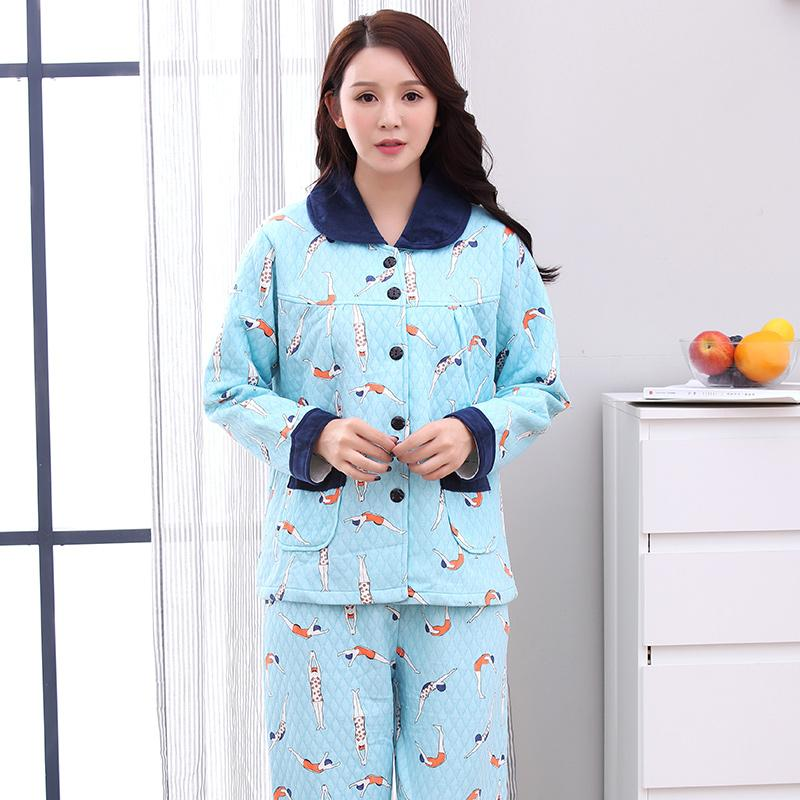7aa716936 Compre JQ Nova Pijamas Femininos Conjunto Bonito Dos Desenhos Animados De  Lazer Pijamas Pijamas De Algodão Em Casa Desgaste Plus Size Pijama Feminino  ...