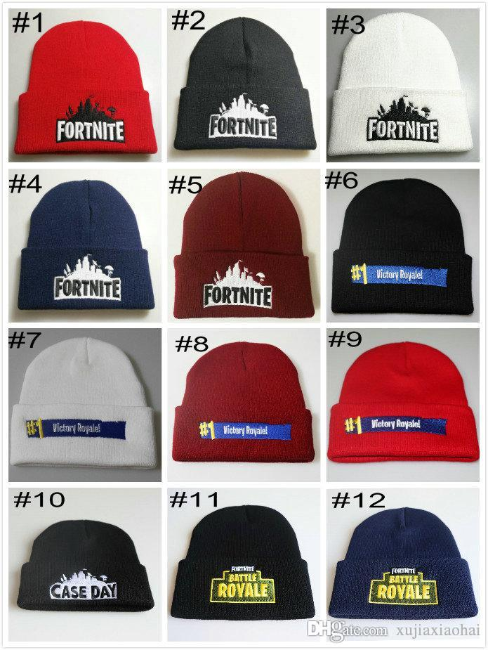 83d0188ebe711 2019 Wholesale Fortnite Battle Knitted Hat 23 Designs Hip Hop Embroidery  Knitted Costume Cap Winter Soft Warm Girls Boys Skuilles Beanies From  Xujiaxiaohai