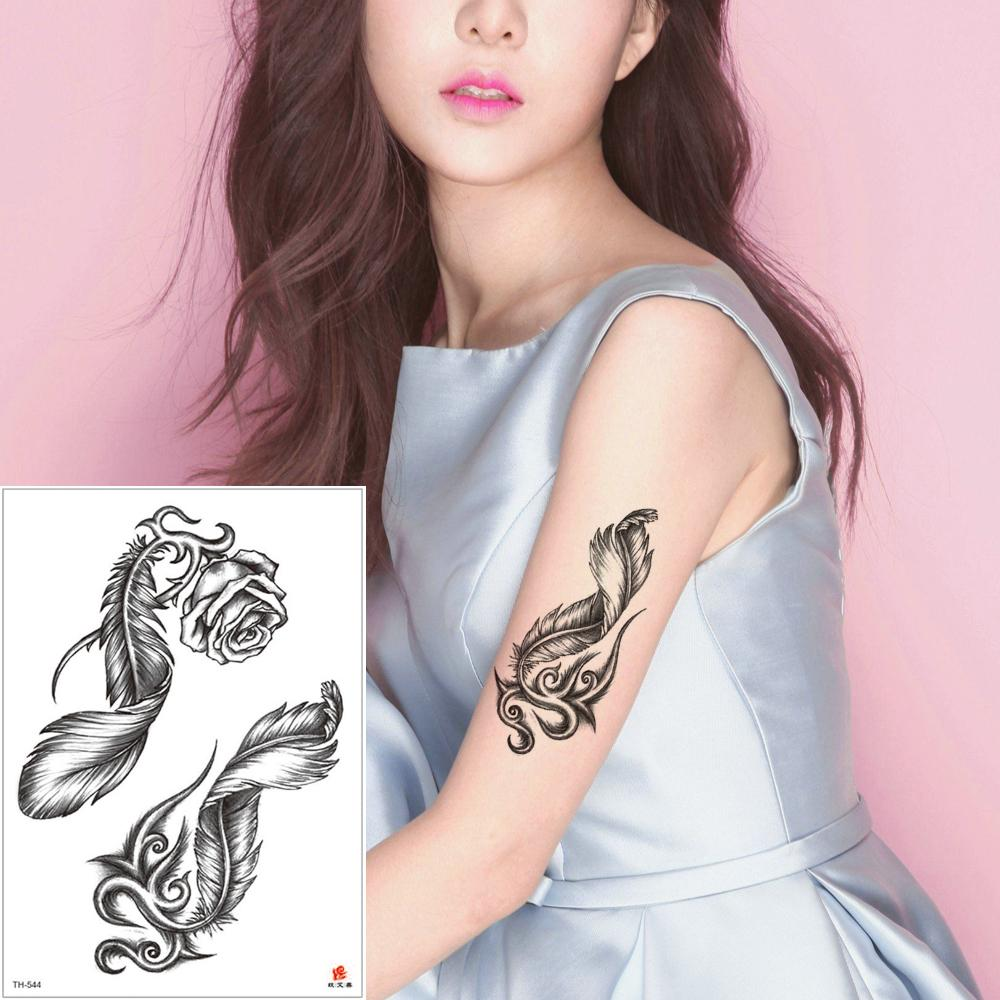 Beauty Fake Waterproof Temporary Body Art Tattoo Sticker Rose Flower Feather Decal Design for Woman Man Chest Arm Leg Waist Back Cool Tattoo