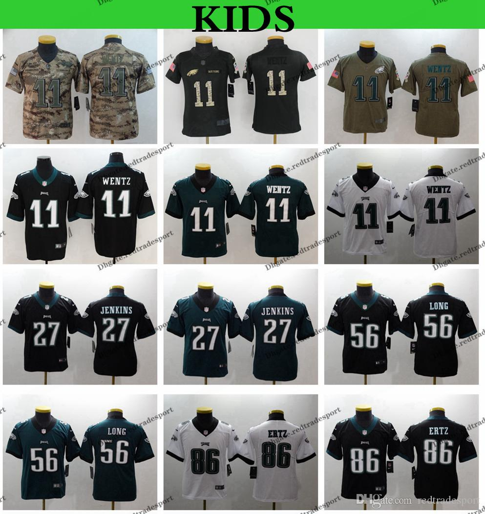47dd79da797 Youth Philadelphia Kids Eagles Carson Wentz Football Jerseys 86 Zach ...