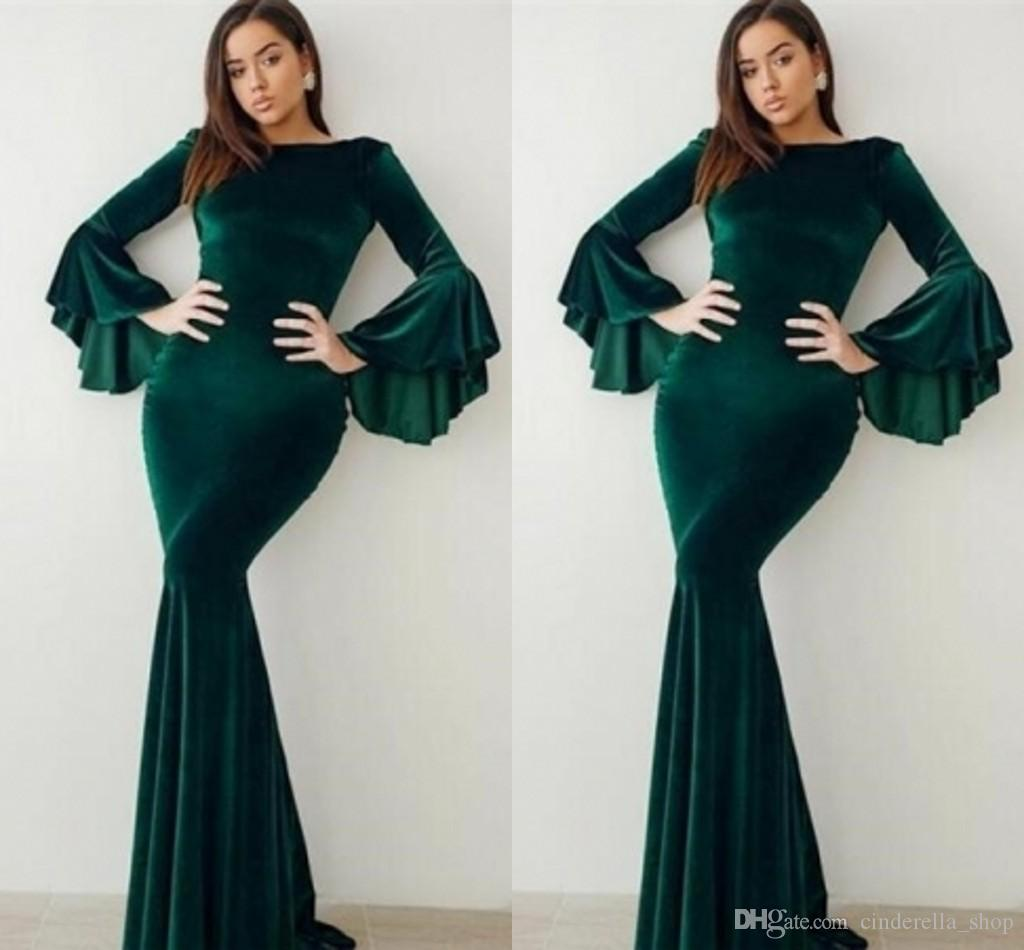 Emerald Green Velvet Mermaid Evening Dresses 2019 With Long Flare Sleeves  Vintage Women Formal Party Gowns Arabic Abaya Plus Size Prom Dress Buy Gowns  ... 4a23229be206