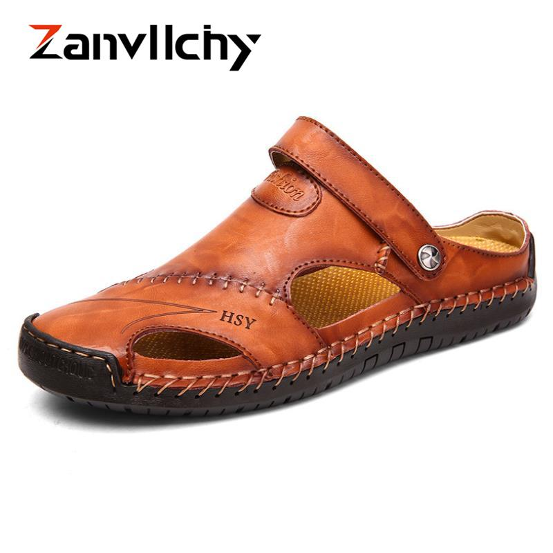 4d817ca94 Zanvllchy Big Size 38 46 Summer Men Beach Shoes Breathable Flat Sandals  Genuine Leather Outdoor Slippers Male Handmade Flip Flop Wedges Shoes Nude  Shoes ...