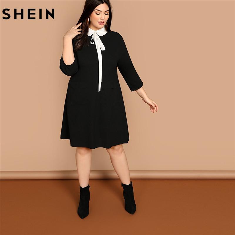 343e05fc492 Wholesale Plus Size Tie Neck Peter Pan Collar Preppy Style Women Black  Straight Dress 2019 Spring Three Quarter Sleeve Dresses White Dresses For  Parties ...