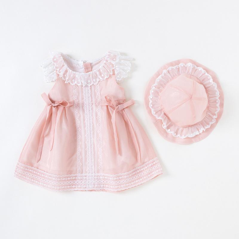 Vlinder Girl Baby Clothes Summer Princess Style Cute Bow Tie Dress Newborn Short Sleeves Infant Dresses 2pcs Set Q190518