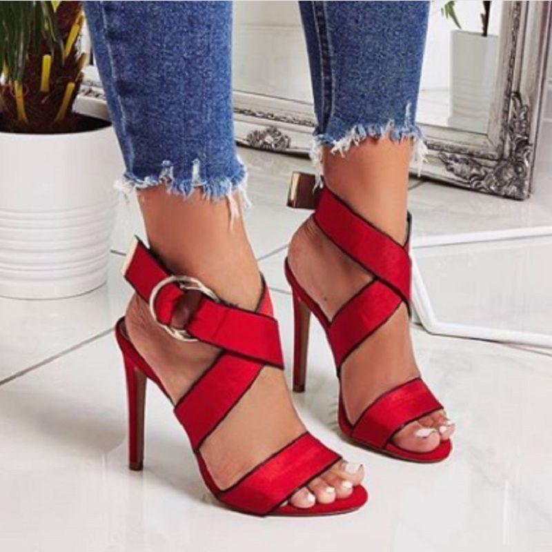 Cruz Tacón Dedo Verano Mujeres Negro Abierto Señoras De Pie Roja Zapatos Gladiador Del Sandalias Alto Las dxhtCsQr