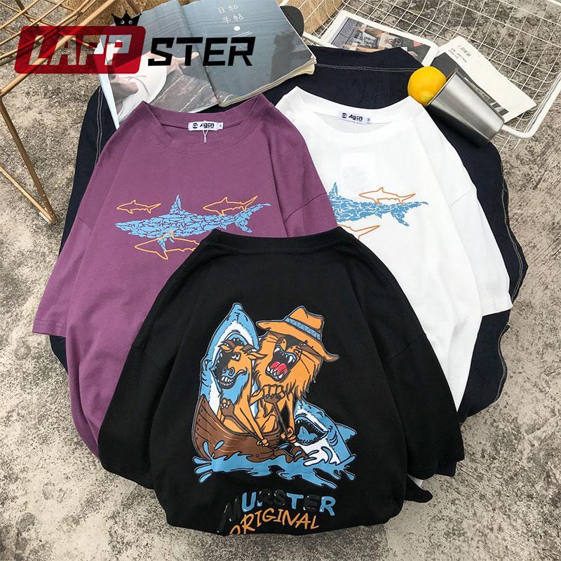 39fc4f554 LAPPSTER Women Shark Harajuku T Shirt 2019 Women Summer Kawaii Funny Print  TShirts Black Cotton Streetwear Loose 90s Clothing T Shirt On Buy Cool  Shirts ...
