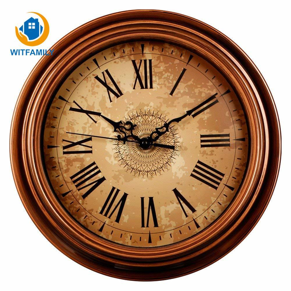 Wooden Wall Clocks Antique Effect French Word Round 28 Cm Clocks