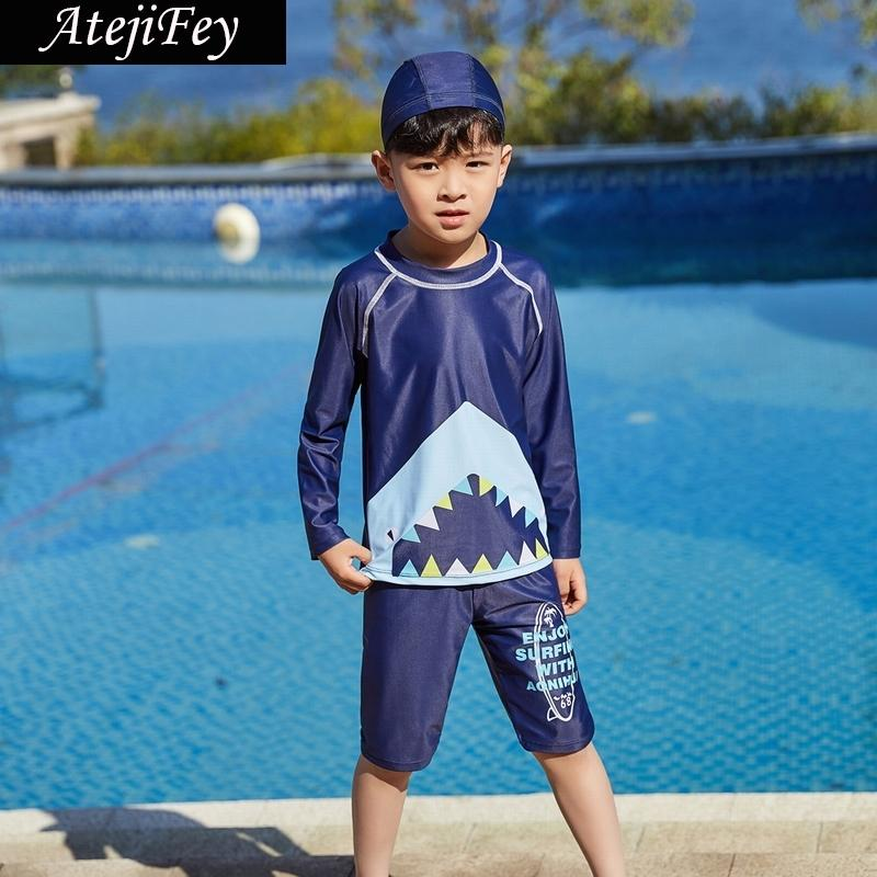 2019 Summer Boys Swimsuits Bathing Suit Two Pieces Separates Rash Guards Baby Toddler Boy's Swimming Suit Children Swimwear