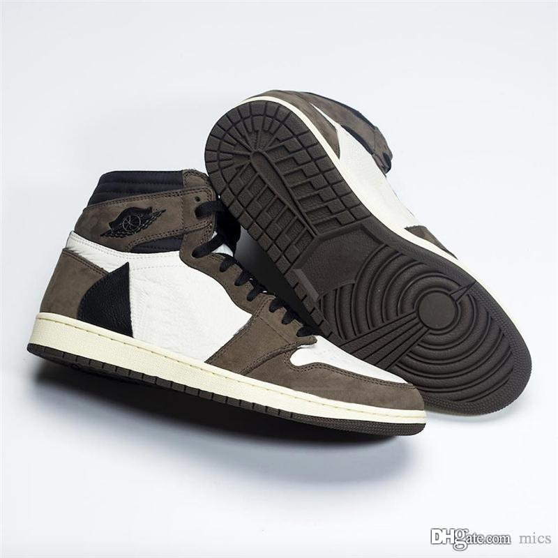 9bf7964c3b1d 2019 Authentic Travis Scott Air High OG TS SP 1 Basketball Shoes Mens  Sneakers Sail Black Dark Mocha University Red CD4487-100 With Box Travis  Mens Sneakers ...