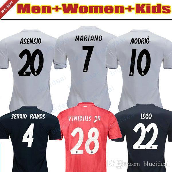 abcbfb88b35 MEN WOMEN KIDS Home White Soccer Jersey 18 19 Real Madrid Away Navy ...