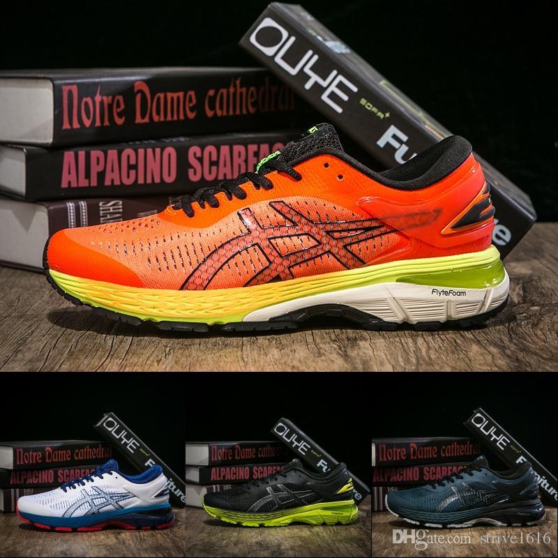 b04f26a2fe5 Brand New Asics GEL-KAYANO 25 Nouveau Meilleur Hommes Chaussures De Course  Balck Bleu Orange Vert Designer Hommes Baskets Chaussures De Sport Taille  ...