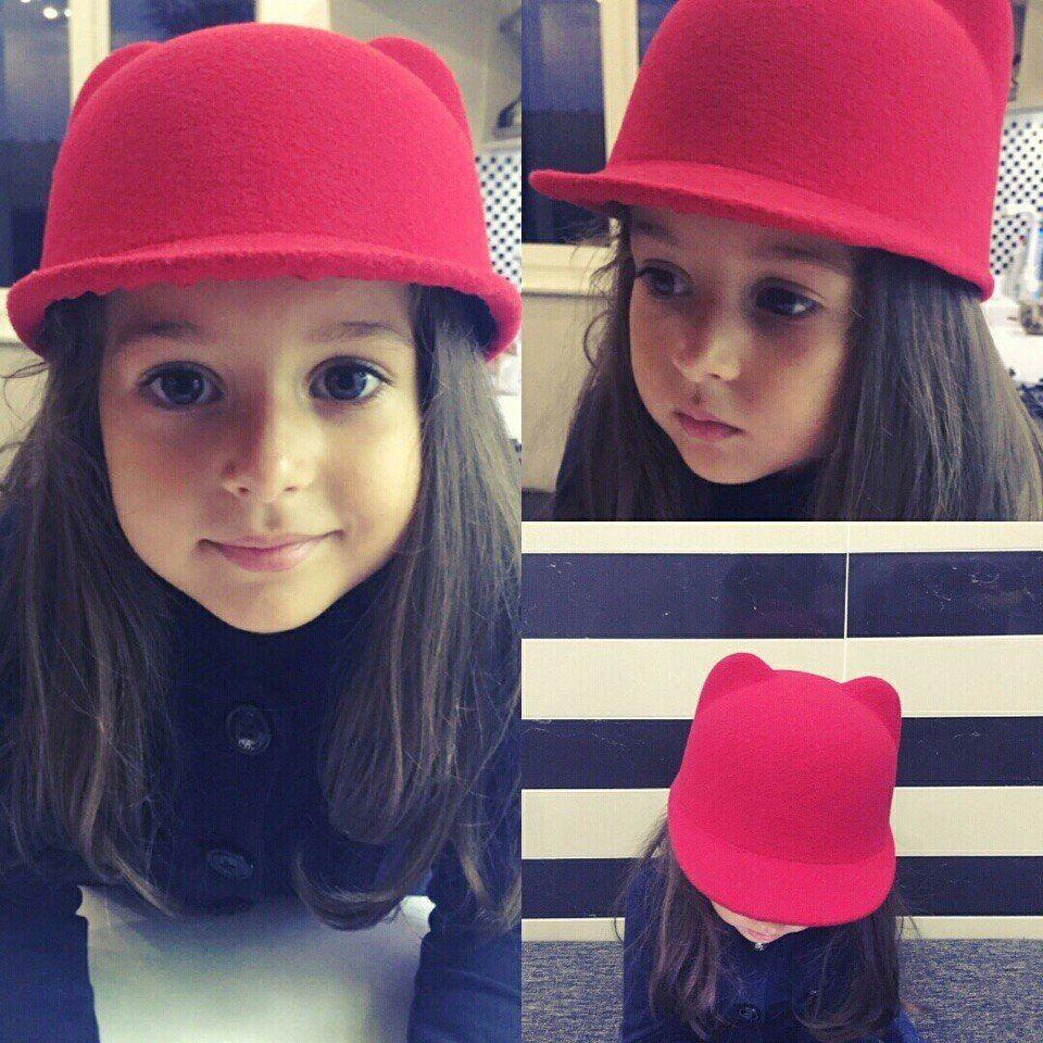 5e2c8a47 2019 2018 Brand New Winter Warm Kids Baby Girls Cat Ears Wool Derby Bowler  Cap Solid 3D Ears Vintage Costume Play Brim Hats Cap From Luckytoys666, ...