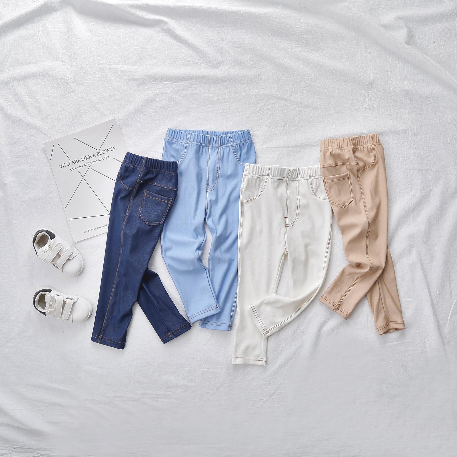 e0fe4b13e2b New Autumn Baby Pants Soft Cotton Baby Boy Pants Solid All Matched Girls  Trousers White Blue Denim Girl Leggings Boys Legging Kids Brown Pants Youth  Hiking ...