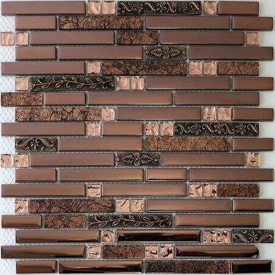 2020 interlocking brick strip glass resin mosaic kitchen