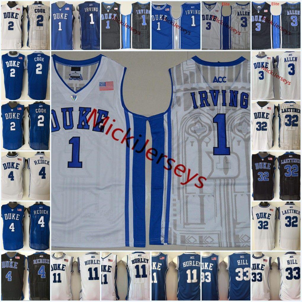e55beecd7462 2019 Duke Blue Devils Kyrie Irving Basketball Jersey Christian Laettner  Quinn Cook JJ. Redick Bobby Hurley Grant Hill Grayson Allen Duke Jersey  From Xt23518 ...