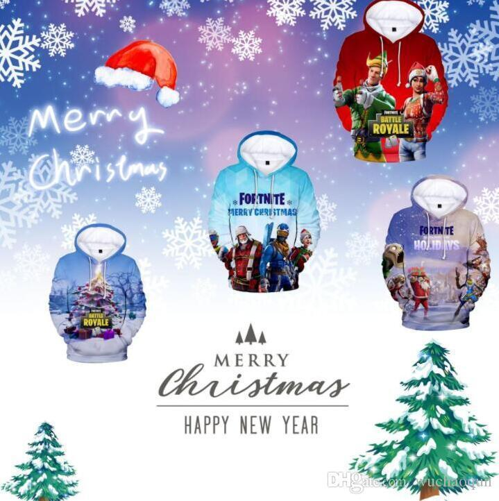 2019 Fortnite Christmas Hoodies Xmas Tree Snow Print Cartoon