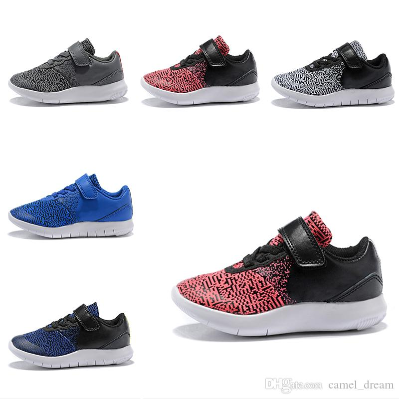 2019 New Kids Design Flex Contact Free Run Shoes Training Sneakers Children Running Shoes for Girls Boys Walking Sport Athletic
