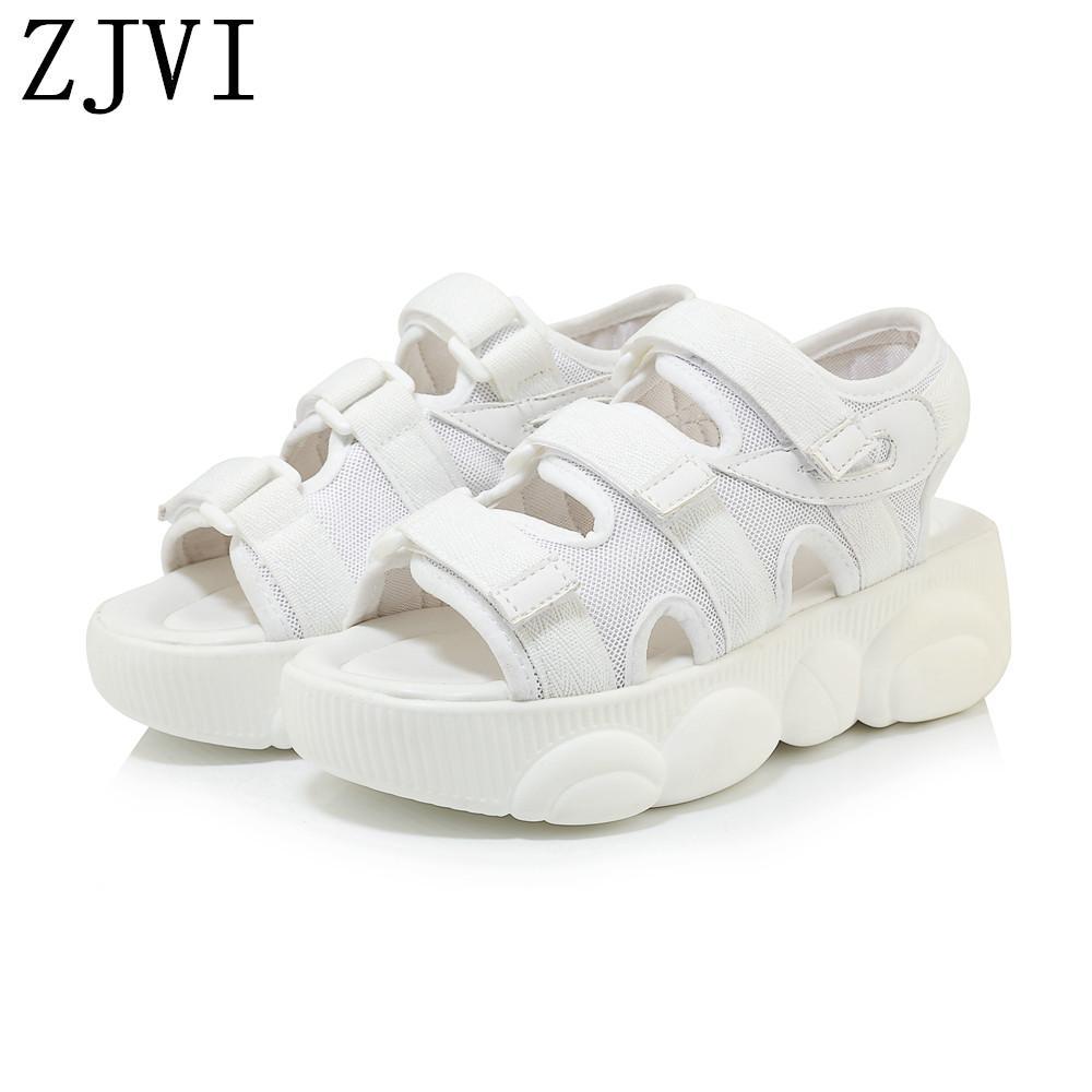 Compensées Sandales Plate Mode Appartements Pour 2019 Filles Blancs Zjvi Baskets Talons Noir Forme Sandalias Mujer Été Femmes Chaussures Femme jL45AR3