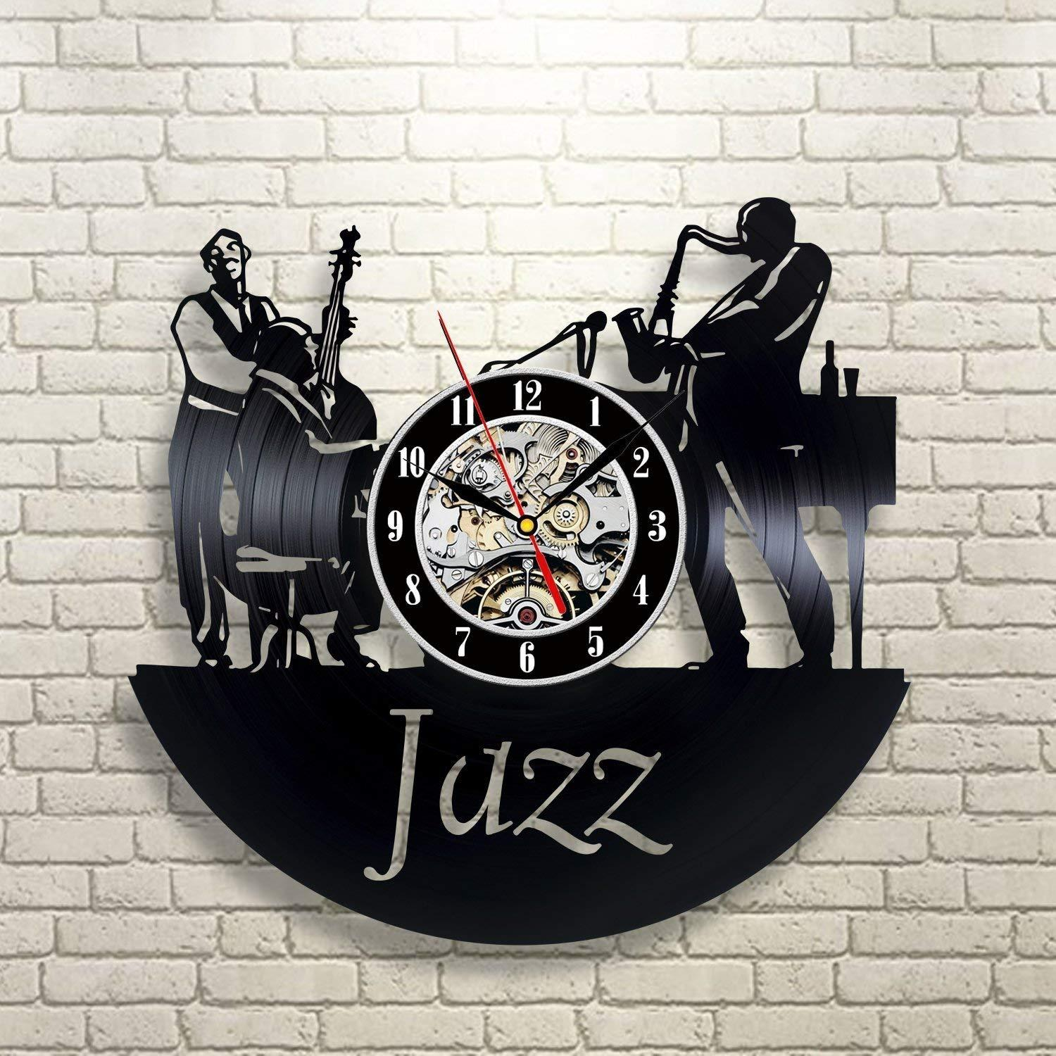 Jazz Art Vinyl Wall Clock Gift Room Modern Home Record Vintage