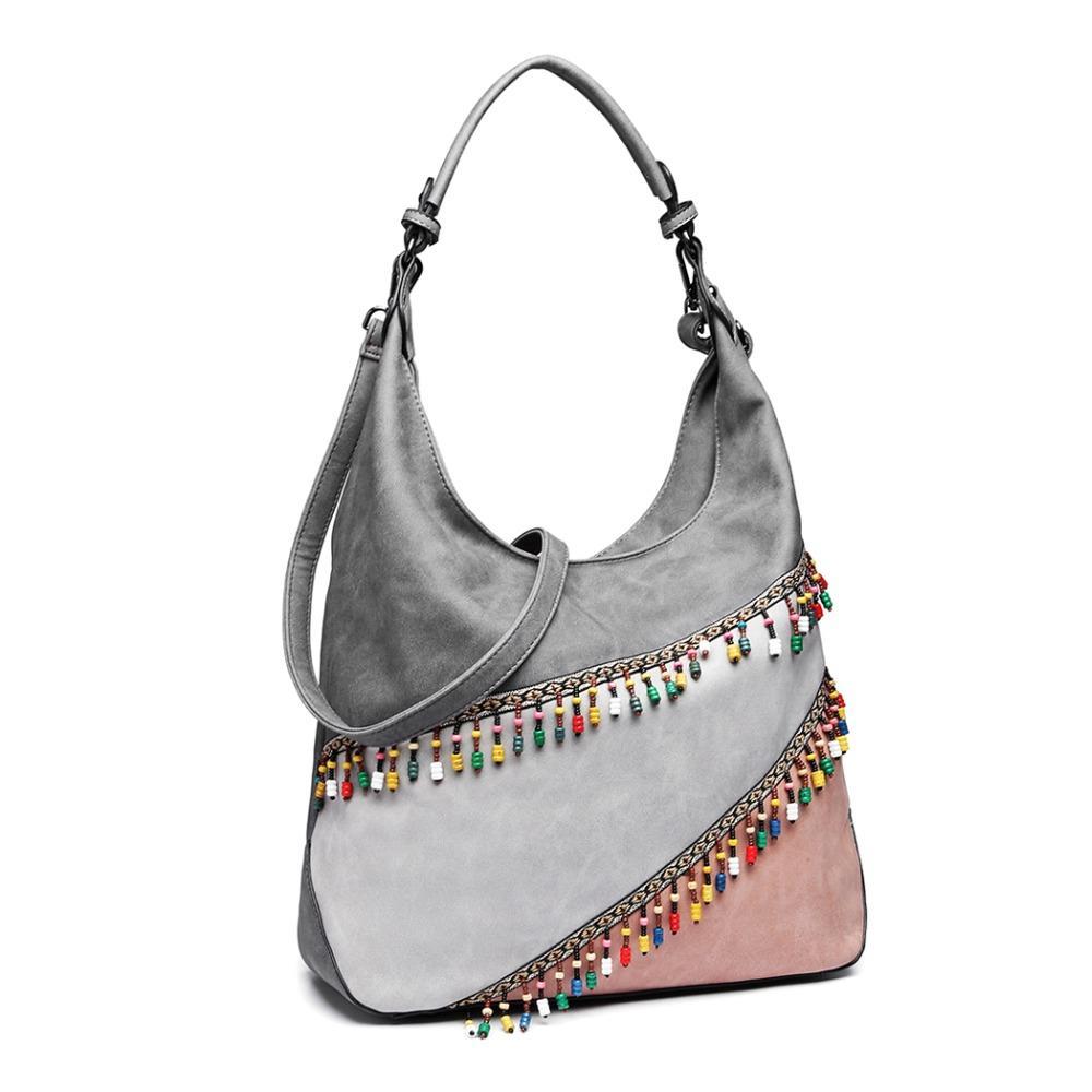 Miss Lulu Women Multi-Color Pendant Handbags Hobo Shoulder Bags Grey ... b1bf7b24654c4