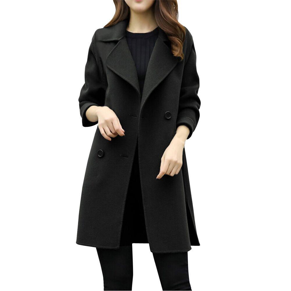 low priced 0bb18 de7bc Cappotto lungo in lana Bottone donna Bottone lungo Donna Cappotti lunghi  neri 2018 Cappotti invernali antivento caldo Moda Femminile