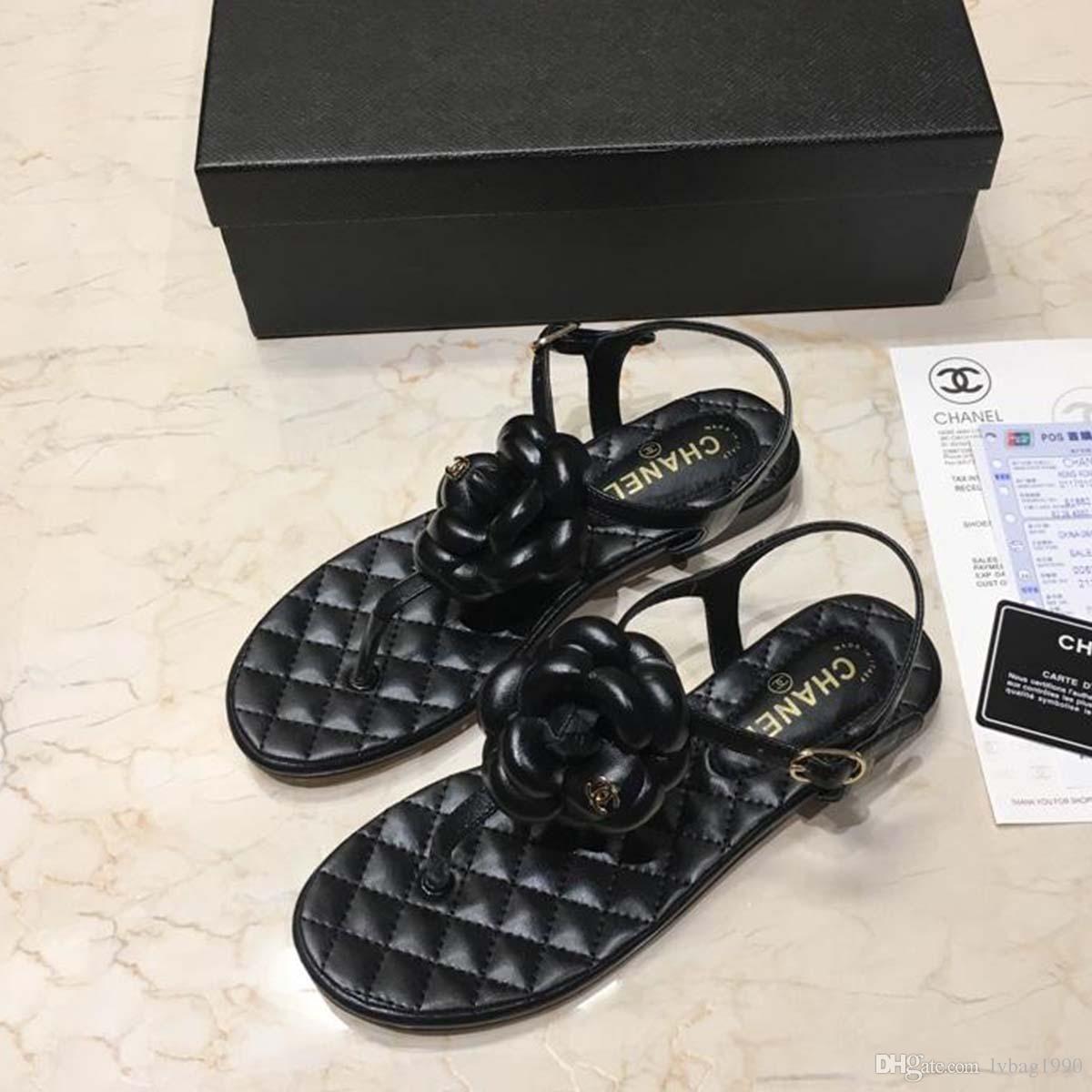 fe0e355f New 2019 Fashion Leather Sandals women Summer Ladies Dress shoes woman  Beach Shoes Flat Sandals flip flops women