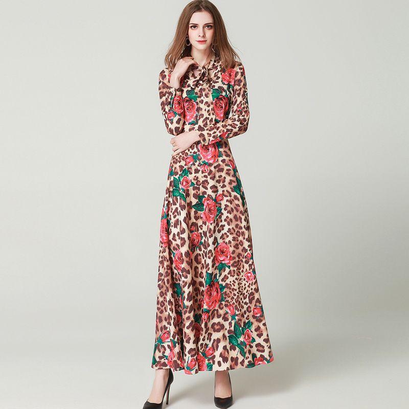 b02264f4da4e 2019 Women s Runway Dresses Bow Collar Long Sleeves Leopard Roses ...