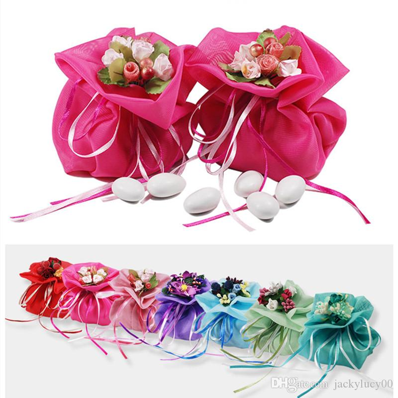Italian Style Wedding Favor Candy Gift Bags With Artificial Handmade Flower Bouquets For Party Favours Table Decorations Supplies