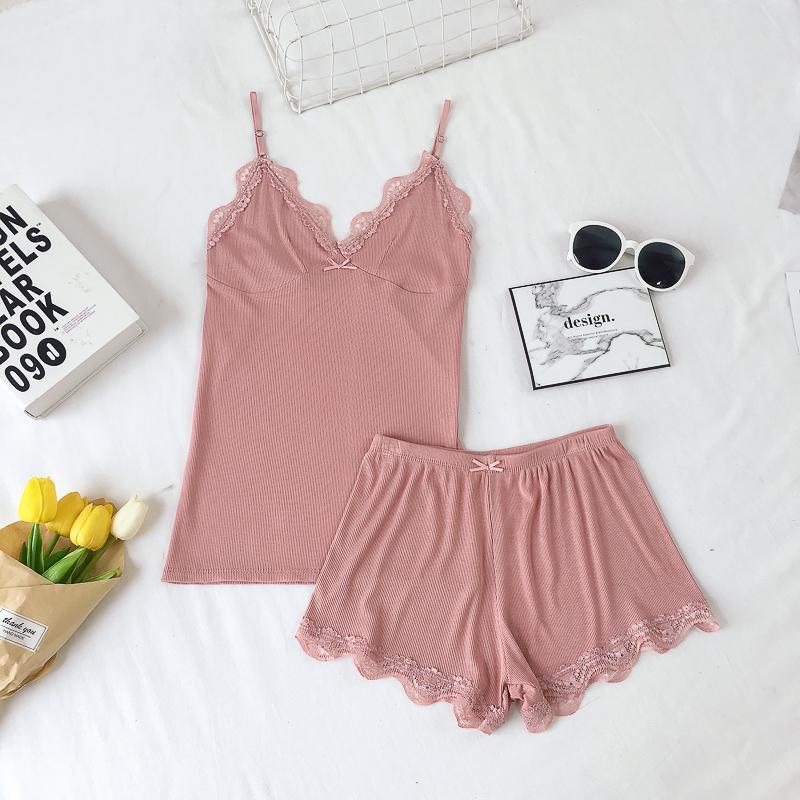 d386f7a33d7b5 2018 New Top Summer Short Ladies Sexy Lace Cotton Sleeveless Set V-neck  Sleepwear Solid Summer Home Wear Sleep Wear For Women T519053003