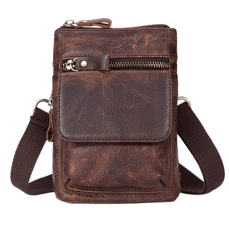b4402f80530a MVA Messenger Bag Men s Leather Shoulder Bag Small Travel Wallet Waist  Men s Vintage Messenger