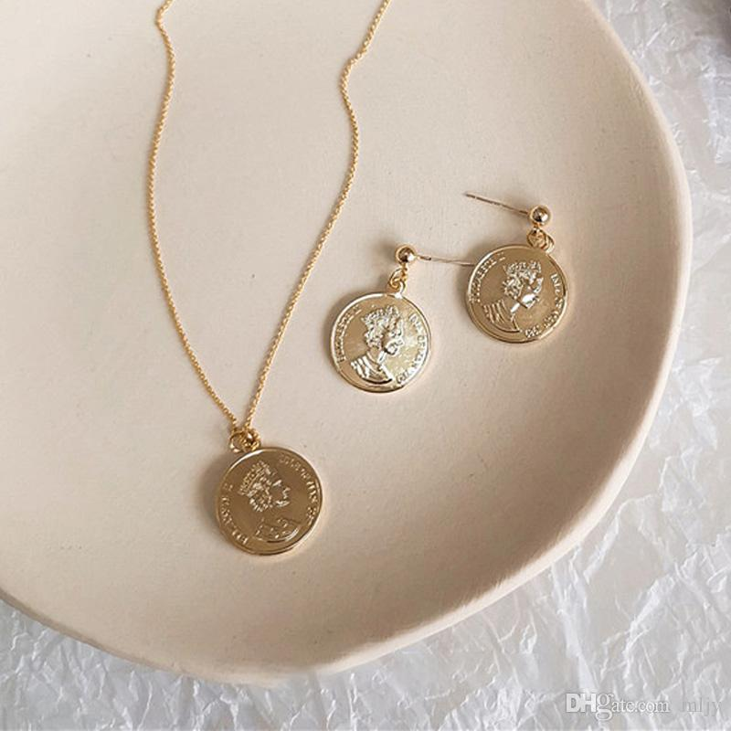 Wholesale Vintage Punk Gold Coin Stud Earrings Necklace Set