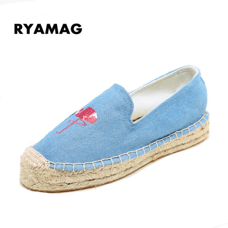 Women's Esapdrilles blue flat Breathable Flax Hemp Canvas espadrilles Slip-on Cotton sewing Shoes flamingo loafers