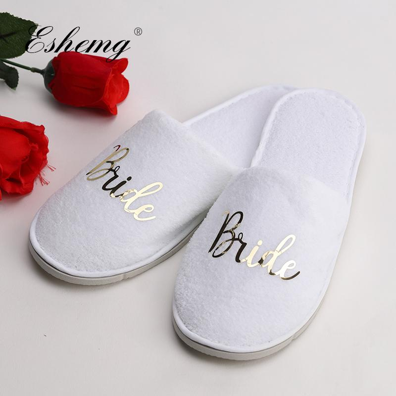 0f8fbd9001c57 Eshemg Personalized Wedding Slippers Bride Bridesmaid Slippers Maid Of  Honor Groom Bachelorette Party Warm Riding Boots Hiking Boots From  Keroyeah