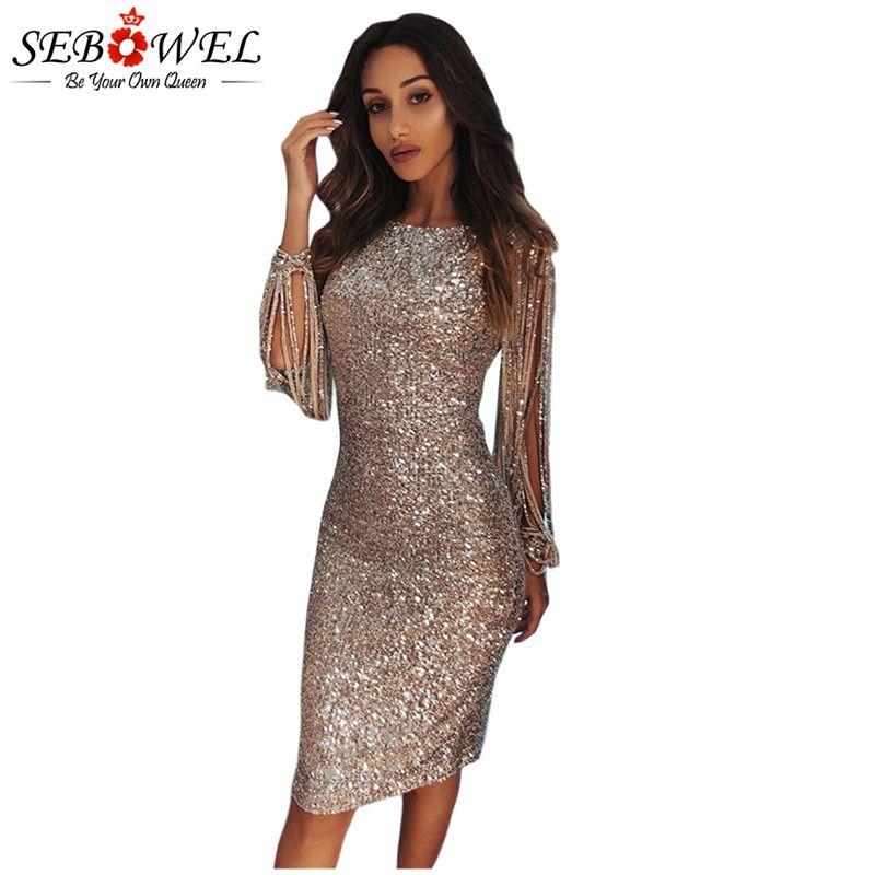 96079efe8f SEBOWEL Vestito sexy con paillettes Vestito aderente da donna con glitter  argento Vestito da festa con maniche lunghe con paillette da donna
