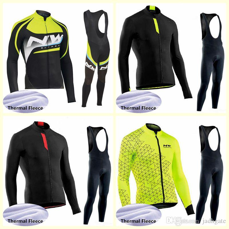 NW team Cycling Winter Thermal Fleece jersey bib pants sets custom made Men's Comfortable Wearable Outdoor Sports U122309
