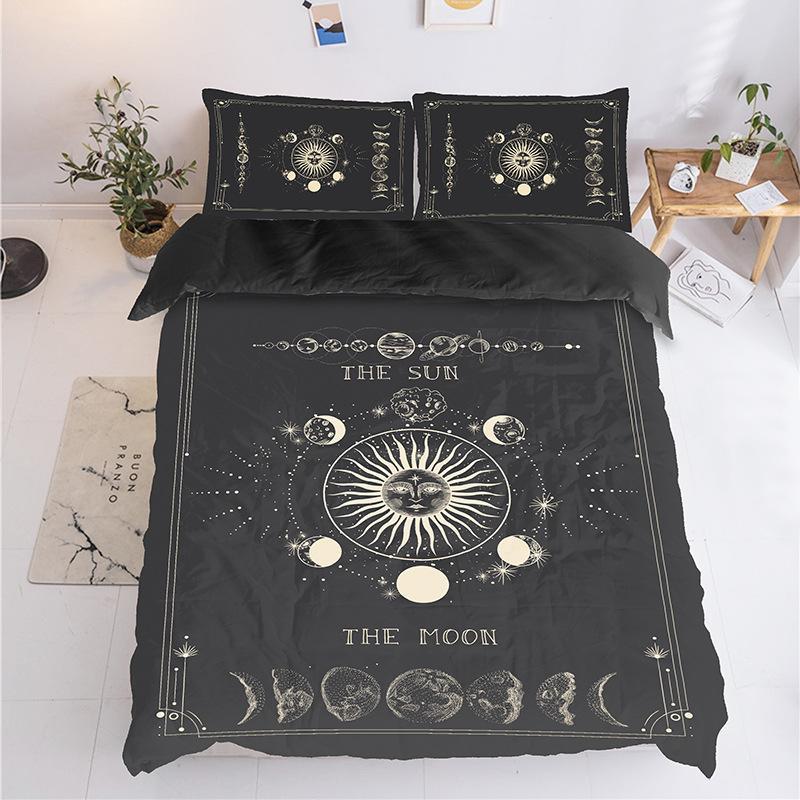 Flower Bed Maintenance Cost: 2019 Black Hippie Sun Moon Series Three Pieces Set Bedding