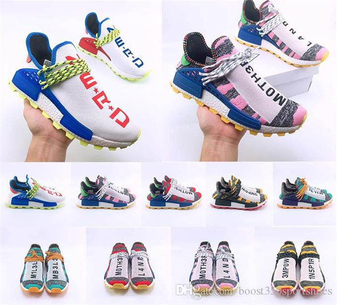 400aaa743 2018 Creme X NERD Solar PacK Human Race Holi MC Casual Shoes Pharrell  Williams Hu Trail Cream Core Black Equality Trainers 36 47 Moccasins Boat  Shoes From ...