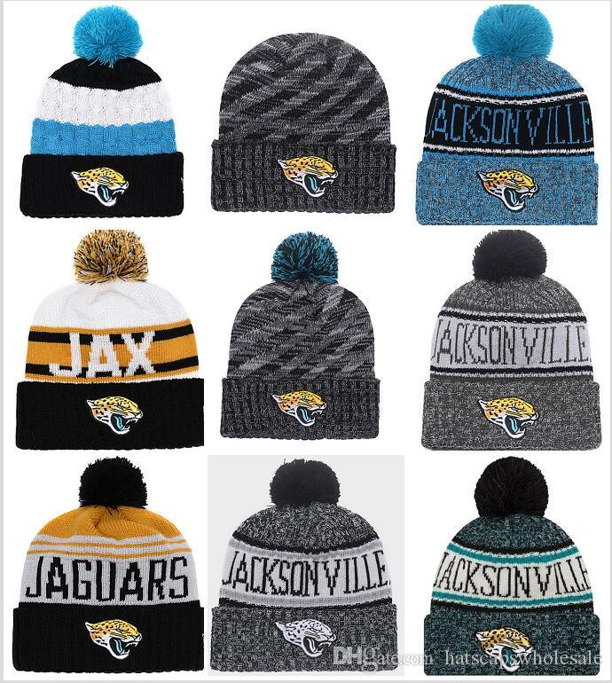 2019 Wholesale New Pom Poms Men Women Winter Hats Sports Jaguars Beanies  Fashion Knitting Hat Embroidered Logo Brand Thick Female Warm Caps From ... f375aa6d4a6