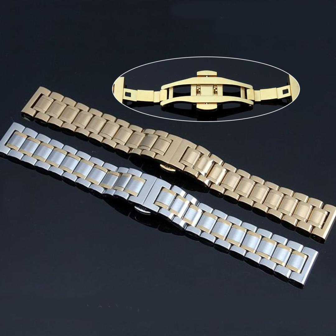 Good Fashion Stainless Steel Solid Link Watch Band Bracelet Straight End Band