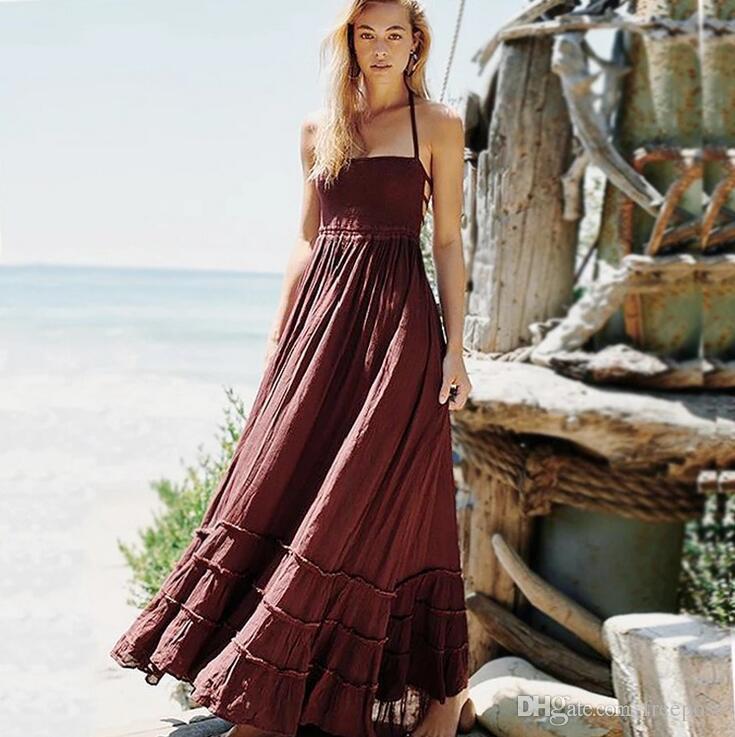 af2232017bc Compre 2019 Primavera Verano Vestido Largo Vestido De Playa Bordado Traje  De Baño Mujeres Estilo Suelto Mujeres Vestidos De Fiesta De Noche Vestir  Para ...