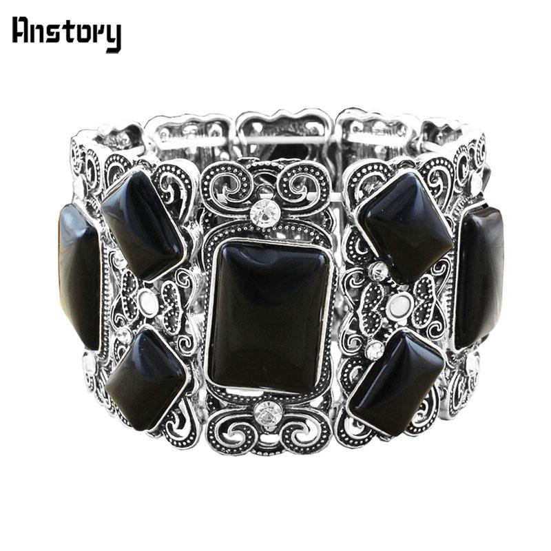 9031d59b1de3 Compre Ashion Jewelry Bangles Flower Oblong Black Stone Bead Crystal  Elástico Pulsera Bangle Vintage Look Plata Antigua Plateado Joyería De Moda  .