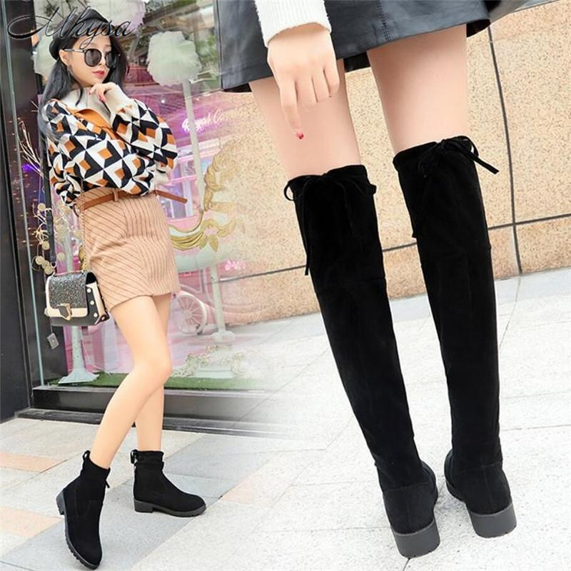 593e26004e16 Mhysa 2019 New Women Boots Autumn Winter Ladies Fashion Flat Bottom Boots Shoes  Over The Knee Thigh High Suede Long S1166 Winter Shoes Low Boots From ...