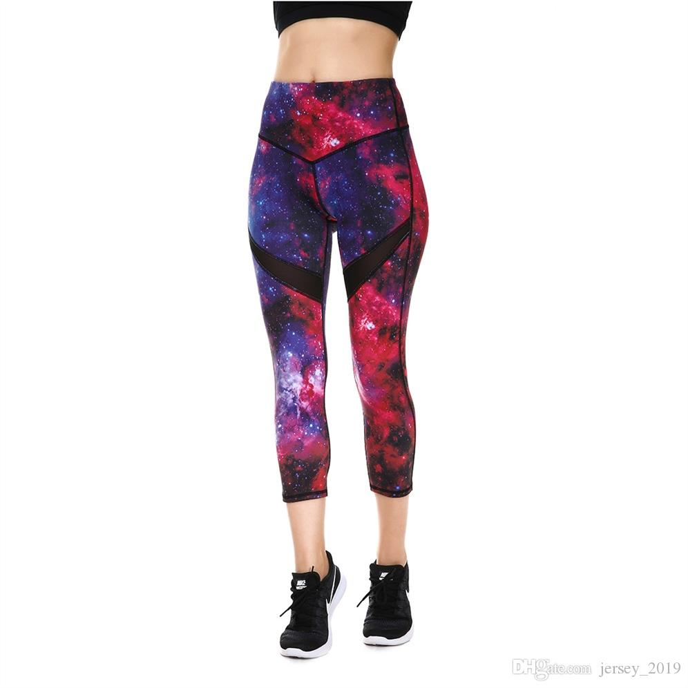 4844ad35a278e JIGERJOGER 2018 Spring Summer Dark Red purple Galaxy Printed Cropped  women's Capris Leggings Yoga shorts cross waistband shorts #225276