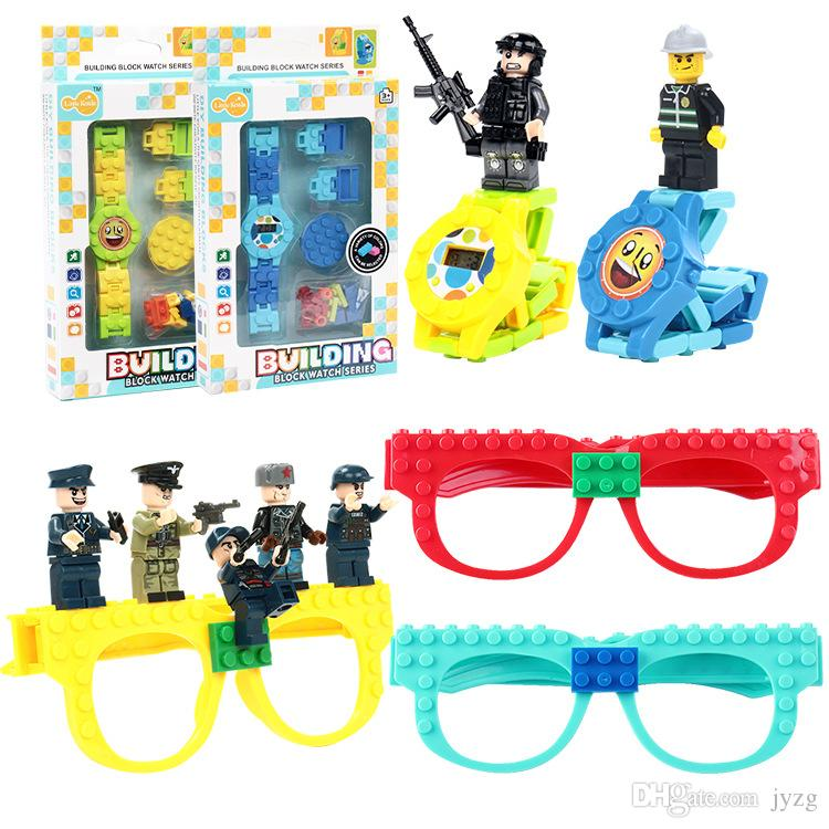 DIY Kid's Glasses Digital Watch Classic Baseplate Building Blocks Spielzeug Jouet Figures Creator Toys For Children