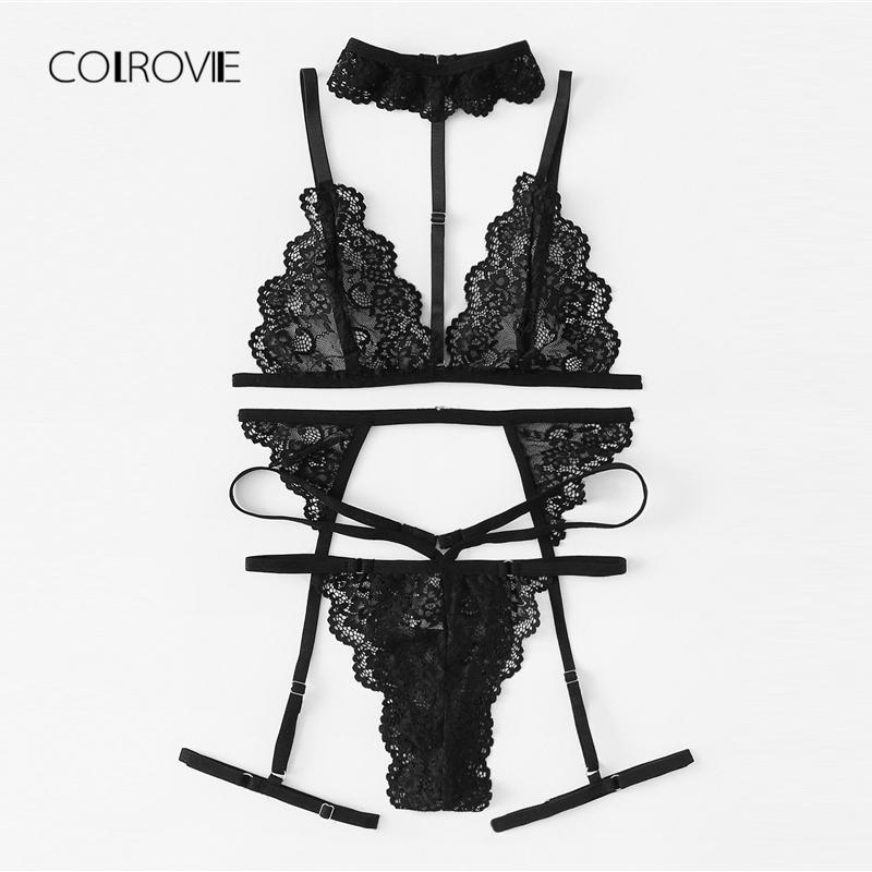 6e1fa65fb48 2019 Colrovie Black Floral Scalloped Trim Lace Lingerie New Women And Thongs  Sets Wireless Sexy Underwear Bra Set C19042401 From Shen07, $20.7    DHgate.Com