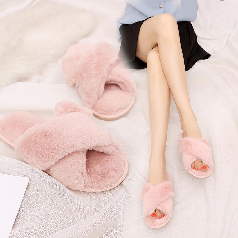 79bf8773e Women Slippers Winter Furry Slides Fluffy Slippers Fur Warm Soft Flat Shoes  Funny Indoor Shoes Cute Home Slippers House Slippers For Boys Character  Slippers ...