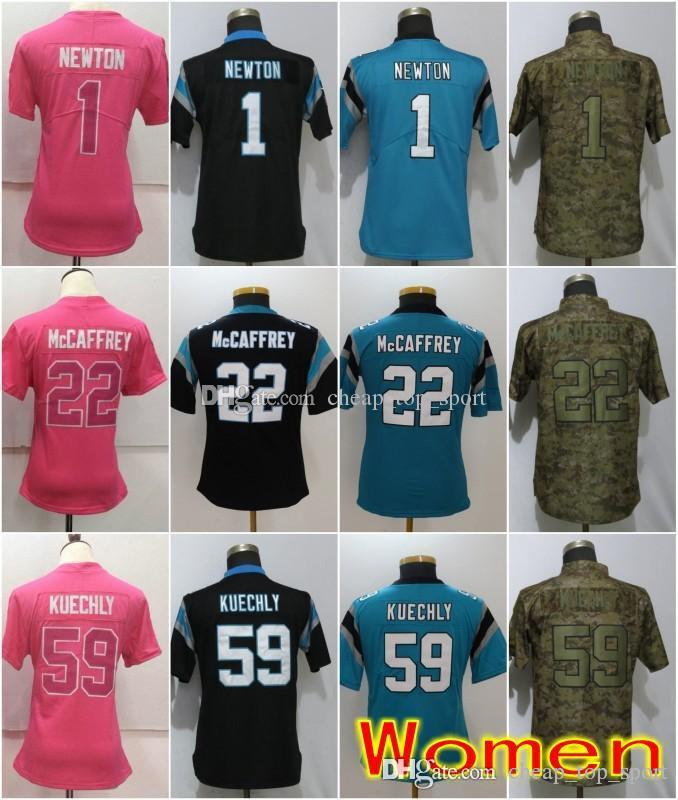 official photos 05b3c d900a Women Carolina Jerseys 22 Christian McCaffrey Panthers 1 Cam Newton 59 Luke  Kuechly Olive Salute to Service Ladies Size S-2XL